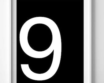 Number 9 poster, most popular items, digital art, printable art, Danish modern print, top selling items, black wall art prints, number print