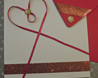Set card + envelope red and white (heart)