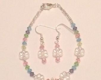 Child's Initial Beaded Bracelet Set with Earrings