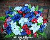 Cemetery Saddle Arrangement, Headstone Arrangement, Monument Flowers, Tiger Lily, Casa Blanca Lilies,