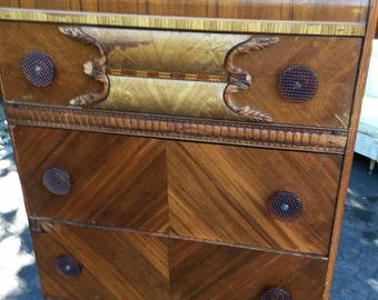 Art deco waterfall chest of drawers bedroom furniture masculine storage