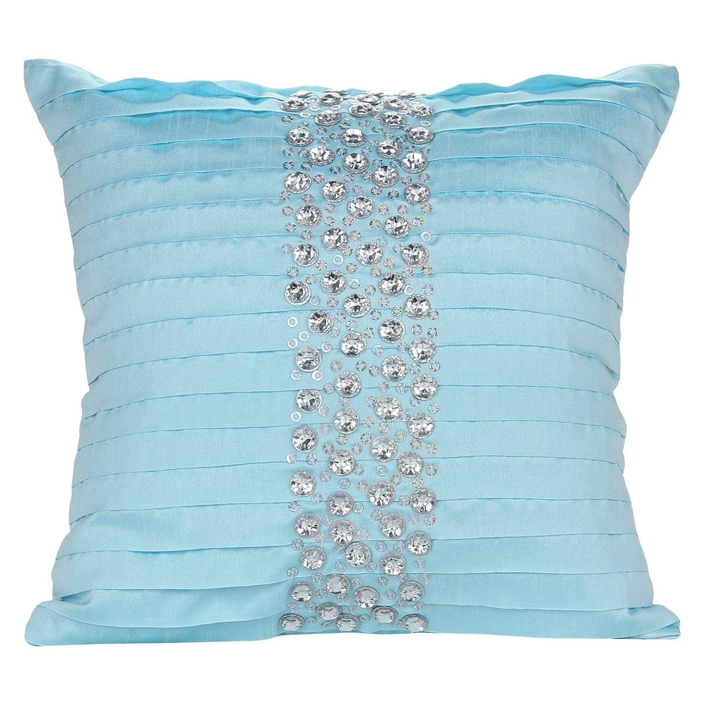 Silver Blue Decorative Pillows : Aqua Blue Silver Decorative Pillow Cover Aqua Blue Pleated