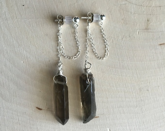 Crystal Earrings, Smokey Quartz Dangle Chain Studs