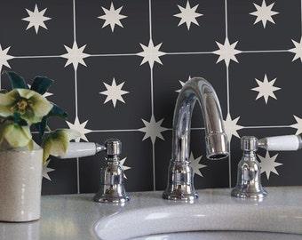 Tile Decals - Tiles for Kitchen/Bathroom Back splash - Floor decals - Moroccan Starry Night Vinyl Tile Sticker Pack color Black