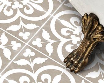 Vinyl Floor Tile Sticker - Floor decals - Carreaux Ciment Encaustic Corona Tile Sticker Pack in Grey