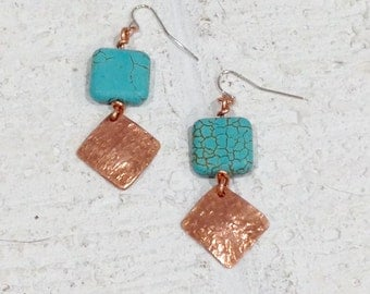 Textured  copper and magnesite hanging earring.  Sundance inspired