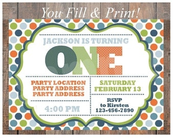 Fillable PDF First Birthday Invitation Blue, Green, Orange - Instant Download - Just Type in Your Info and Print!