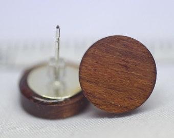 Brazilian Cherry Wood Stud Earrings or Fake Plugs