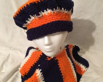 Navy Blue, Orange and White, Hat and Scarf