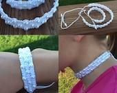 Custom order-Theresa-White pearl-like beaded knotted choker and bracelet set-special occasion bracelet choker set-handmade.