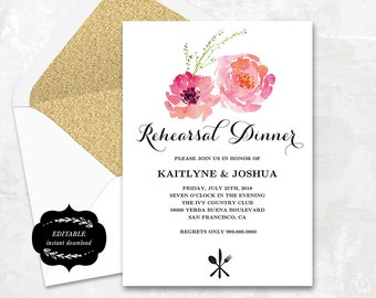 Rehearsal Dinner Invitation, Printable Wedding Rehearsal Dinner Invitation Template, Instant DOWNLOAD - Pink Peony, RD004, VW13