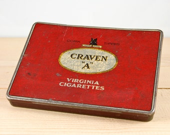 Vintage Craven A cork tipped Virginia cigarettes metal tin.