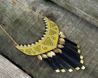Mustard &Black Leather Necklace Autumn jewelry Leather Fringe necklace Navajo Jewelry Native american necklace jewelry Handpainted Jewelry