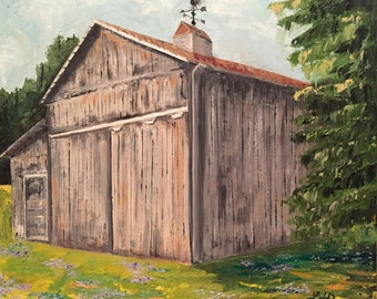 """Original Rustic Barn Oil Painting - 24x20"""""""