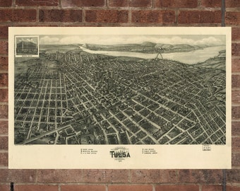 Vintage Tulsa Print, Aerial Tulsa Photo, Vintage Tulsa OK Pic, Old Tulsa Photo, Tulsa Oklahoma Poster, 1918