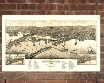 Duluth Minnesota Vintage Print Poster Map 1883 Poster of MN Map Art Wall Decor