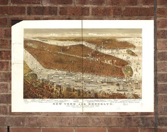 Brooklyn New York  Vintage Print Poster Map 1877 Poster of NY Map Art Wall Decor