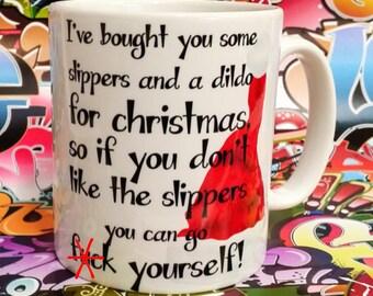 Mature sweary mug , christmas dildo f*ck yourself coffee cup, christmas present ~ santa gift