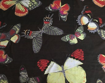 Gorgeous 100% Silk Chiffon with Butterfly Print- Price Per Yard