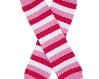 pink, Red and White Striped Leg Warmers