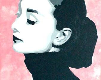 Audrey Hepburn 11x14 Acrylic Painting Wall Art