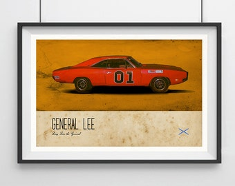 """The DUKES of HAZZARD, General Lee, Car Inspired Minimalist Poster Print 13 x 19"""""""