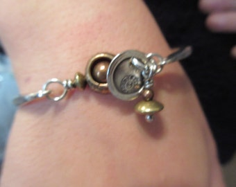 Sterling Silver Mixed Metal Jabberwooky Clasp Disc Bracelet