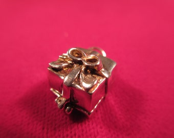 Whimsical Sterling Silver Gift Box Pendant with Ring Inside
