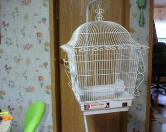 Medium Size White Victorian Bird Cage on Pole or Stand Alone with Dishes, Never Been Used  Augusta Maine  Pick Up Only