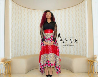 New Collection | Asymmetric Skirt | Hi-Lo Maxi Skirt | LACE ANKARA SKIRT