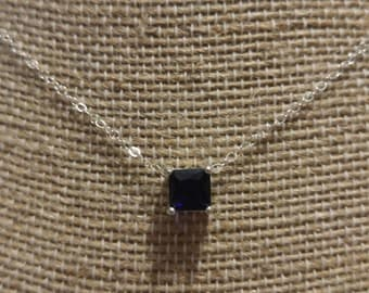 Princess Cut Blue Sapphire Necklace - Sterling Silver-  Gold Filled Necklace NBJ342 September Birthstone - Rose Gold Necklace