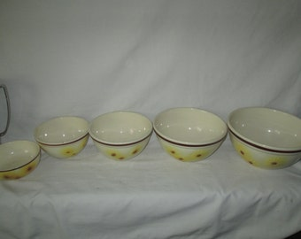 Set of 5 Mixing Bowls Pottery Hull Yellow Floral Bowls Brown Rim top 1952-53