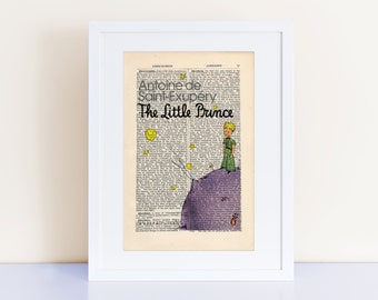 The Little Prince by Antoine de Saint-Exupery Print on a vintage encyclopedia page (unframed) - Nursery Decor, Le Petit Prince