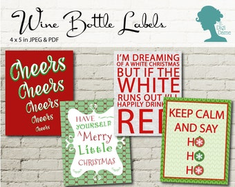 Wine Bottle Label Printable: Red & Green Set of Four Christmas Labels Buy 2 Get 1 FREE INSTANT DOWNLOAD
