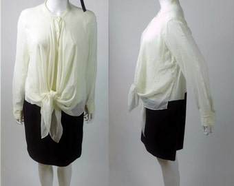 90s DKNY luxurious stretch silk crepe wrap blouson tied knotted bi-color black white secretary dress