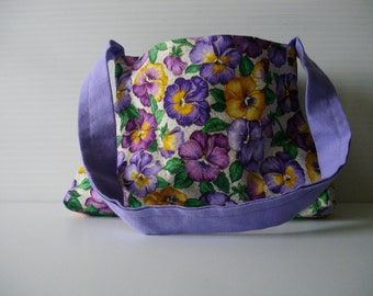 Purple Pansy Flower  Purse - Small Floral Purse - Little Girl Purple Flower Purse - Small Purple Bag