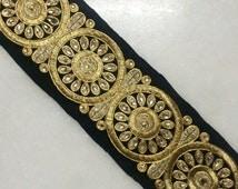 Black gold trim,Bollywood Embroidered Trim, Black trim, Fabric trim, Zari Embroidered,Quilt Trims, Indian Trim, Lace,Saree border