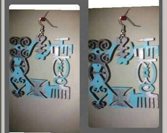 African Adinkra Map Two tone Amazing Earrings Free Shipping