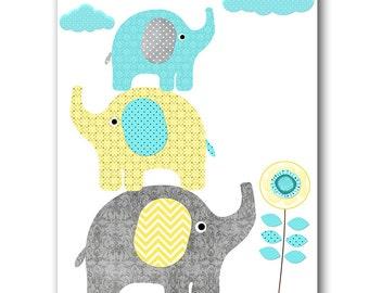 Grey Aqua Yellow Elephant Decor for Nursery Digital Wall Art Baby Boy Wall Art Children Art Boy Room Decor 8x10 11X14 INSTANT DOWNLOAD Art