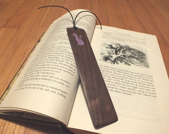 Bookmarks: Cat silhouette Bookmark, Kitty silhouette Bookmark, book mark, Wood inlay, bookmark