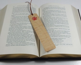 Bookmarks: Cat paw bookmark, Pink Paw, Wood inlay bookmark