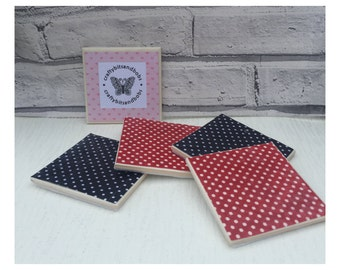 Red blue spot Fabric covered tile coasters, heatproof  coasters, fabric coasters, wipeable coasters, red and blue spot coasters, housewarmi