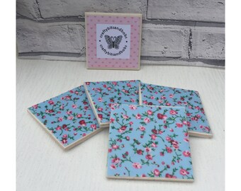 Floral Fabric covered tile coasters, heatproof coaster, wipeable coaster with blue floral print, house warming gift