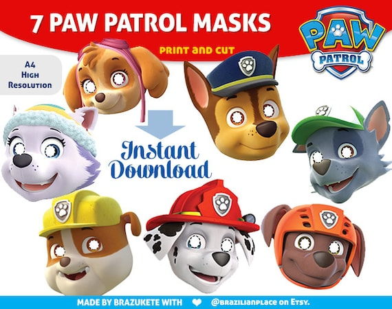 Clean image inside paw patrol printable masks