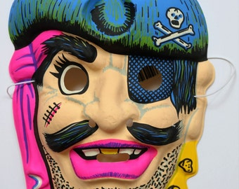 Vintage Pirate Halloween Mask Topstone Black Light Reactive 1980's 80's
