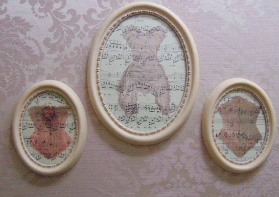 Shabby Chic set of 3 Boudoir Corset Gallery picture frame set bedroom Ornate Ivory Gold music sheet wall art