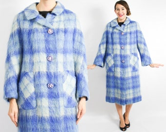 60s Blue Plaid Mohair Coat | Long Wool Winter Coat | Made in England | Large