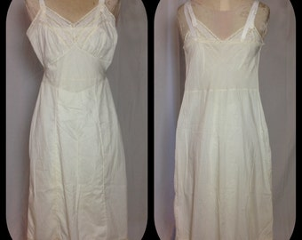1950s Candle Light White Full Slip with Eyelet Lace Bodice Detail - Size 34
