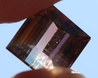 Bicolor Faceted Tourmaline, Irregular Shape, Green, through Blood Orange Color, 9 x 8 mm, 3.4ct, Brazil