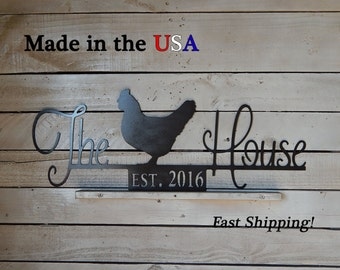 The Chicken House Sign, Smaller Hen House Sign, Chicken Coop Sign, Established Date Any, Chicken Decor, Farm/Barn Decor, S1193